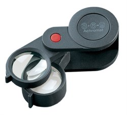 Лупа техническая складная ахроматическая в пластиковом корпусе Plastic precision folding magnifiers, диаметр 23 мм, 3.0х; 6.0х; 9.0х - фото 6269