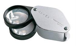 Лупа техническая складная двояковыпуклая в металлическом корпусе Metal precision folding magnifiers, диаметр 27 мм, 4.0х; 6.0х; 10.0х - фото 6270
