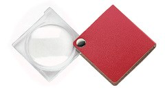 Лупа складная двояковыпуклая economy, диаметр 45 мм, 3.5х (10.0 дптр), цвет красный, форма квадратная - фото 6356