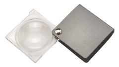 Лупа складная двояковыпуклая economy, диаметр 45 мм, 3.5х (10.0 дптр), цвет серебро, форма квадратная - фото 6357