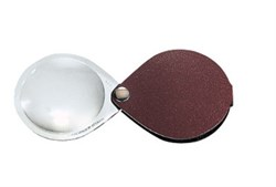 Лупа складная двояковыпуклая classic, диаметр 50 мм, 3.5х (10.0 дптр), цвет коричневый, форма каплевидная - фото 6365