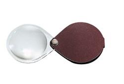 Лупа складная двояковыпуклая classic, диаметр 60 мм, 3.5х (10.0 дптр), цвет коричневый, форма каплевидная - фото 6366