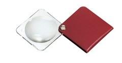 Лупа складная двояковыпуклая classic, диаметр 50 мм, 3.5х (10.0 дптр), цвет малиновый, форма квадратная - фото 6370