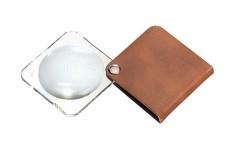 Лупа складная двояковыпуклая classic, диаметр 50 мм, 3.5х (10.0 дптр), цвет бронзовый, форма квадратная - фото 6374