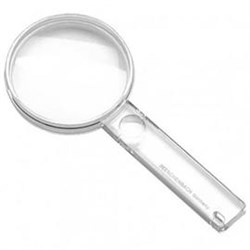 Лупа ручная двояковыпуклая, диаметр 45 мм, 3.25х (9.0 дптр) с дополнительной плоско-выпуклой линзой на рукоятке 5.0х - фото 6386