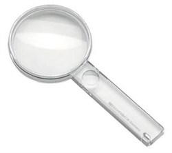Лупа ручная двояковыпуклая, диаметр 60 мм, 2.7х (6.7 дптр) с дополнительной плоско-выпуклой линзой на рукоятке 5.0х - фото 6387