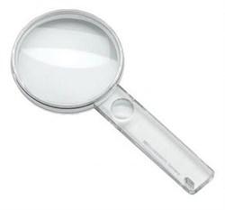 Лупа ручная двояковыпуклая, диаметр 80 мм, 2.3х (5.3 дптр) с дополнительной плоско-выпуклой линзой на рукоятке 5.0х - фото 6388